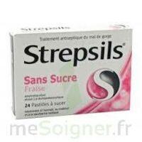 STREPSILS FRAISE SANS SUCRE, pastille édulcorée à l'isomalt, au maltitol et à la saccharine sodique à Saint-Chef